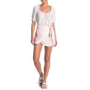 0 2 4 6 Free People // Pink Tie-Dye Wrap Skirt